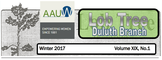 Winter '17 AAUW Duluth Newsletter (Lob Tree)